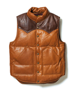 Steer Oil x Saddle Horsehide Down Vest in Camel x Brown (SV-01)