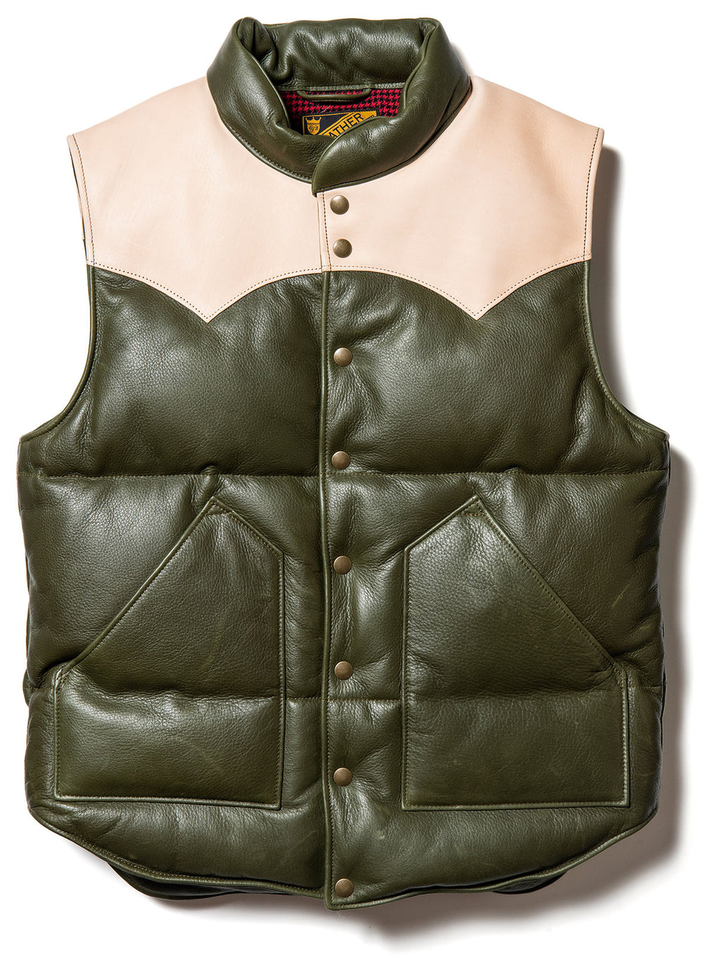 Steer Oil x Saddle Horsehide Down Vest  in Olive (SV-01)