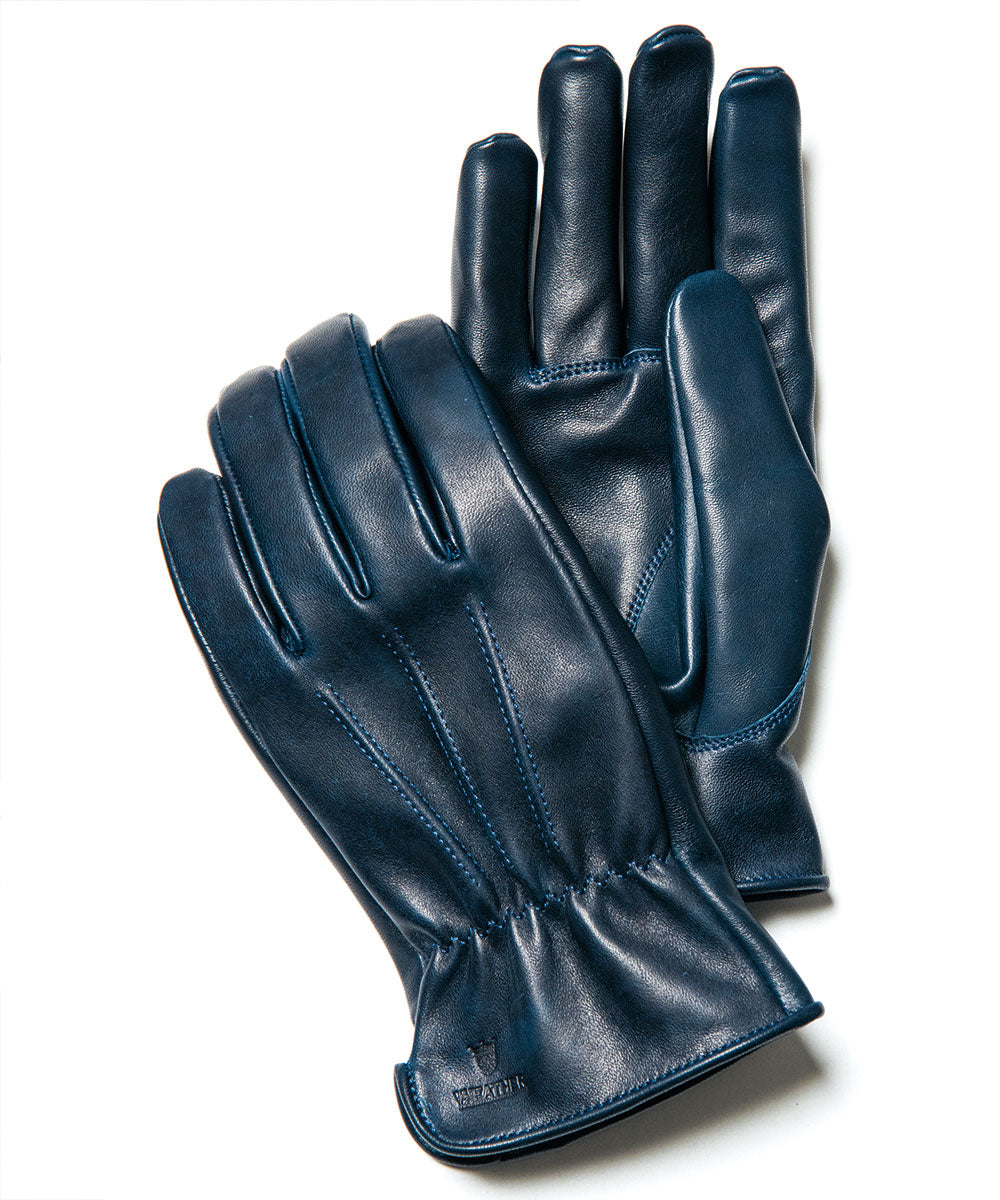 Short Gloves in Indigo Dyed Horsehide (YG-01)