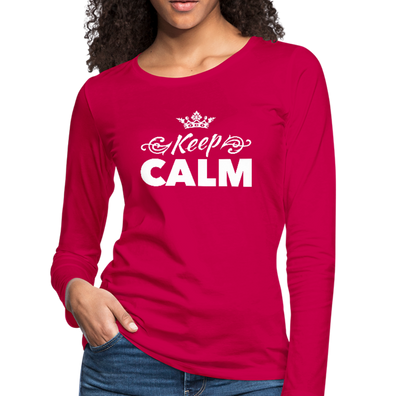 Keep Calm Premium Long Sleeve Tee - dark pink
