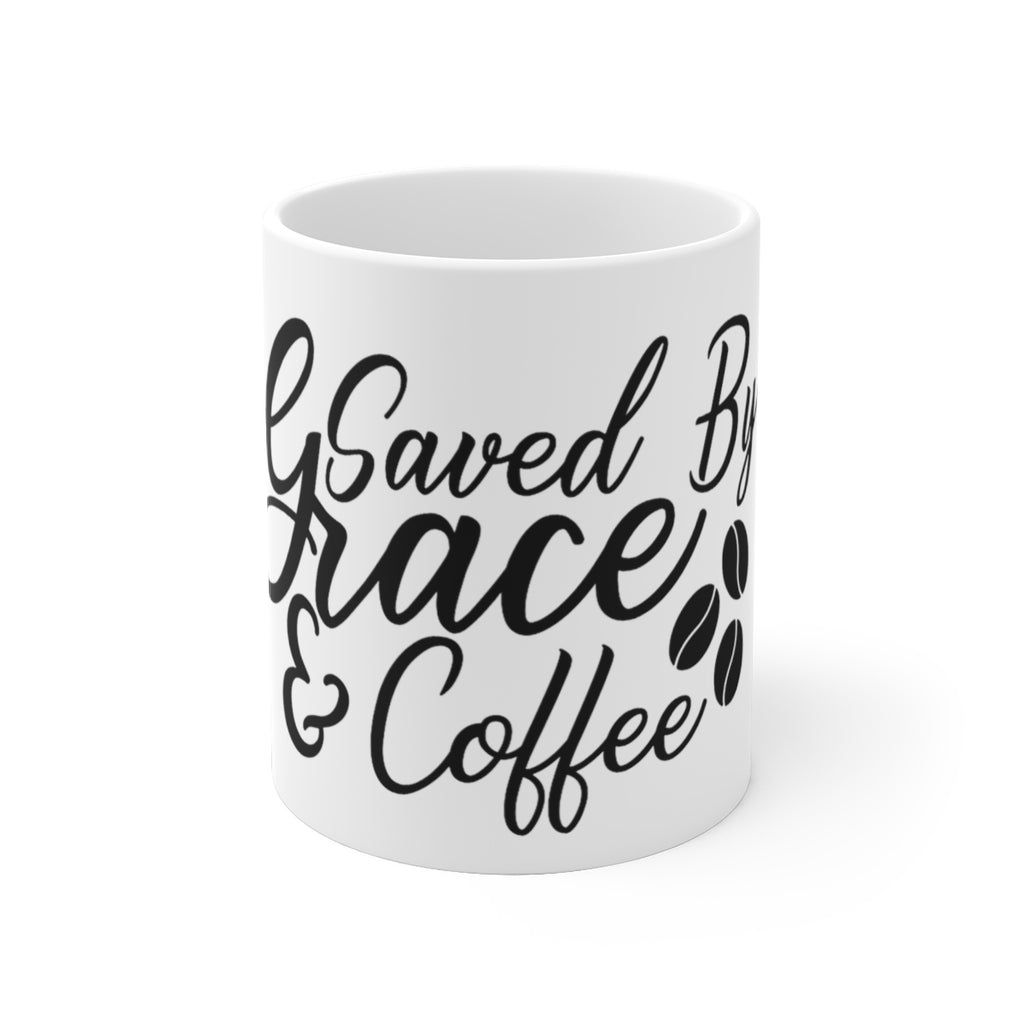 Saved By Grace & Coffee White Ceramic Mug - B Inspired Boutique