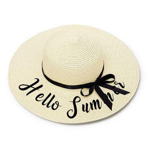 Hello Summer Embroidery Floppy Beach Hat