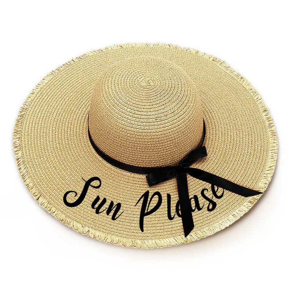 Sun Please Embroidery Floppy Beach Hat - Threaded Edges