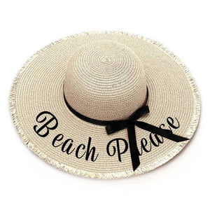 Beach Please Embroidery Floppy Beach Hat - Threaded Edges