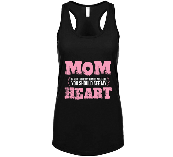 Mom Heart Tank - Black Tanktop