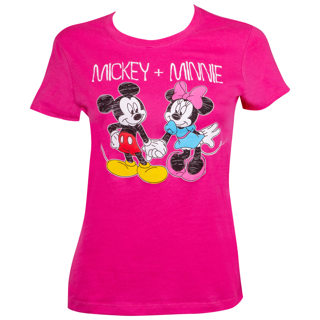 Mickey & Minnie Ladies Pink Tee - B Inspired Boutique