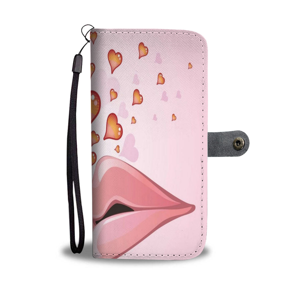 Lovely Lips Cell Phone Leather Wallet Case - B Inspired Boutique