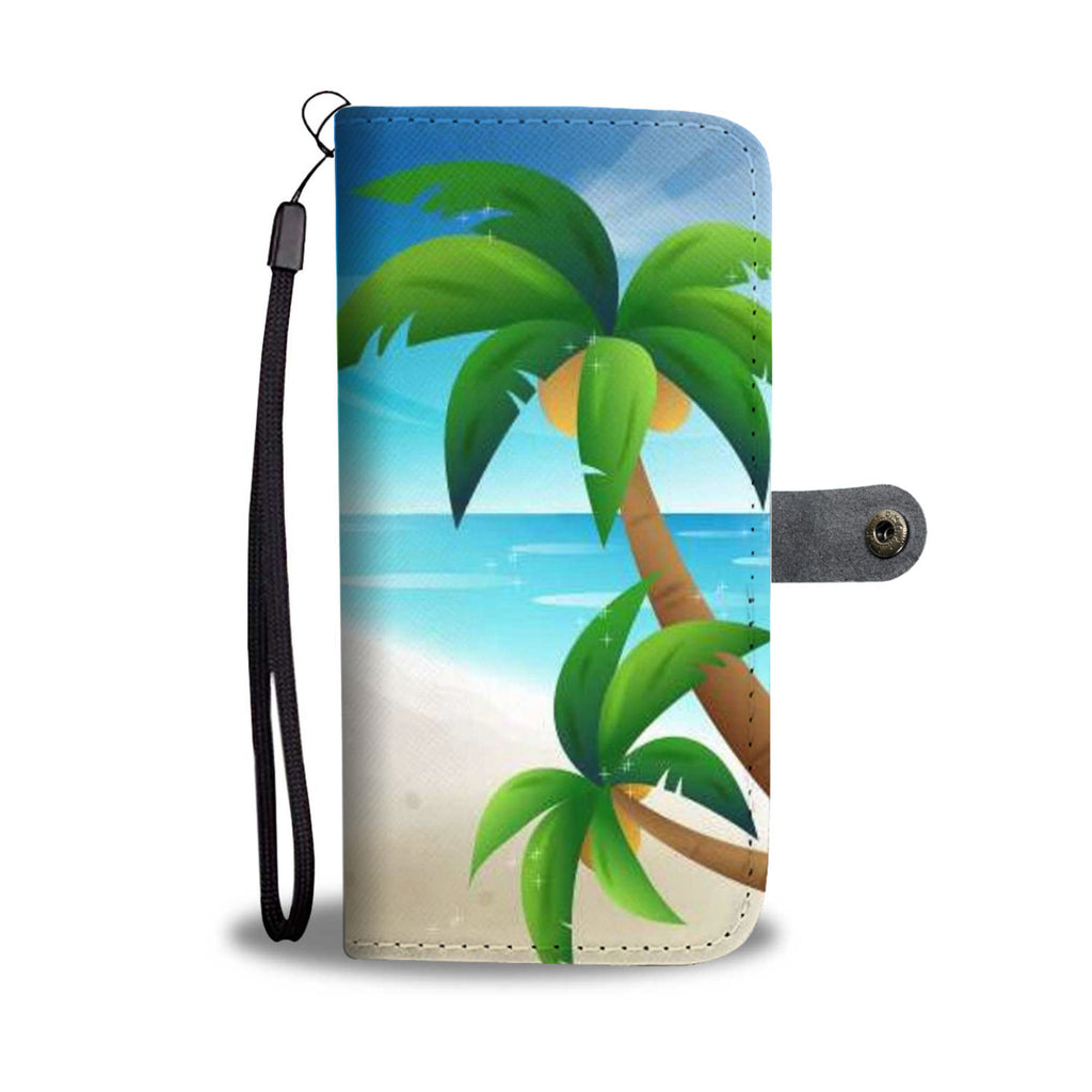 Beach Getaway Cell Phone Leather Wallet Case