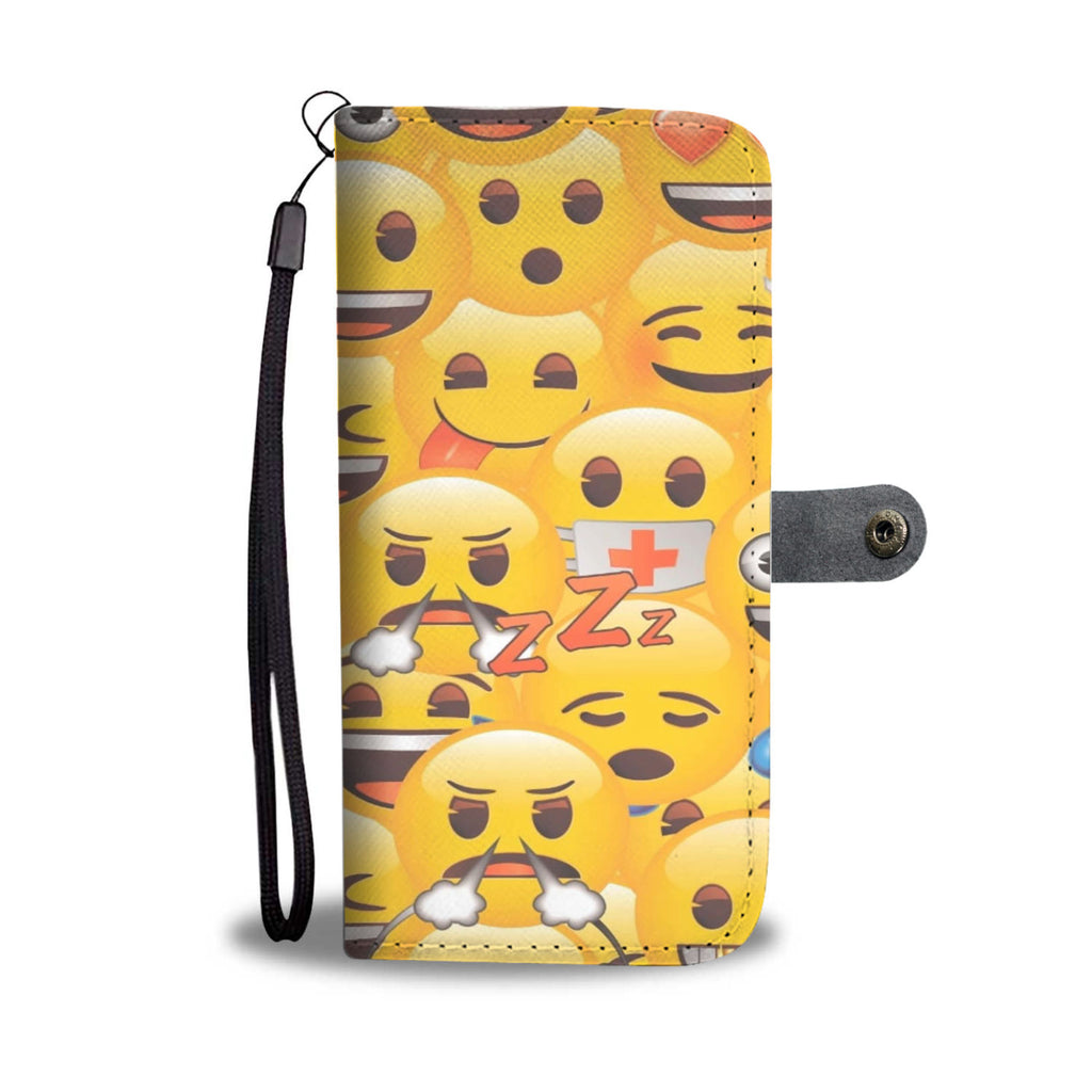 Crazy 4 Emojis  Cell Phone Leather Wallet Case
