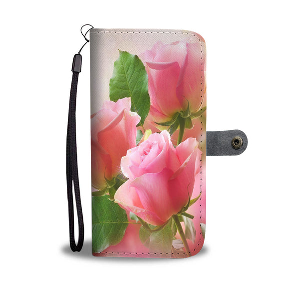 Romantic Pink Rose Cell Phone Leather Wallet Case