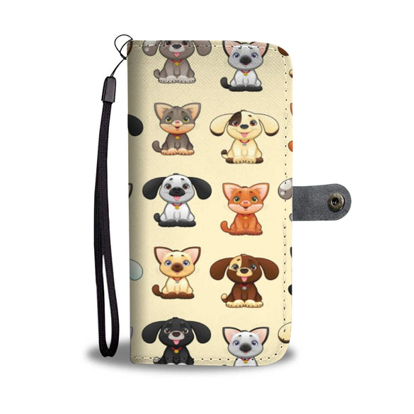Cute Dogs & Cats Cell Phone Leather Wallet Case