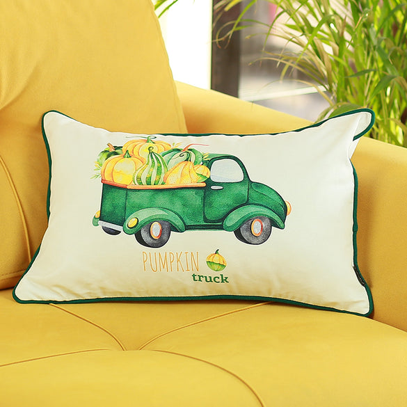 Fall Season Green Pumpkin Truck Throw Pillow Cover (2 pcs in set)