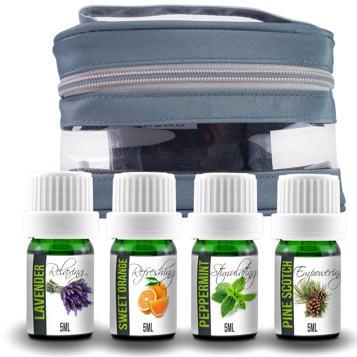 Essential Oil Aromatherapy Gift Set with Travel Carry Case