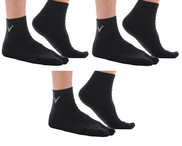 3 Pairs Black V-Toe Tabi Ankle Socks For Men And Women