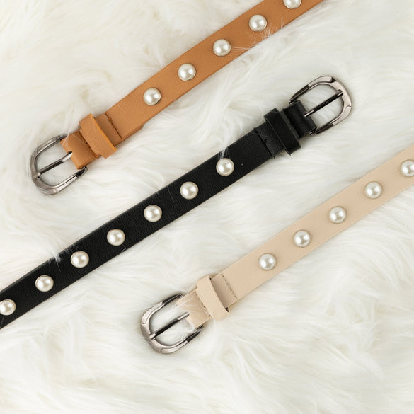 Women's Designer Leather Pearl Belt - B Inspired Boutique