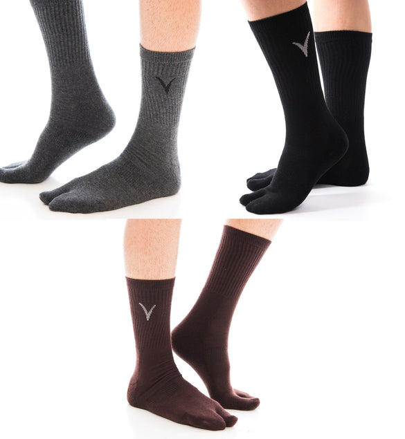 3 Pairs Athletic - 3 Colors Solid V-Toe Flip Flop Tabi Big Toe Socks