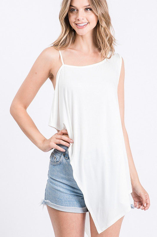 Solid Hi-Low Off Shoulder Top - Off White