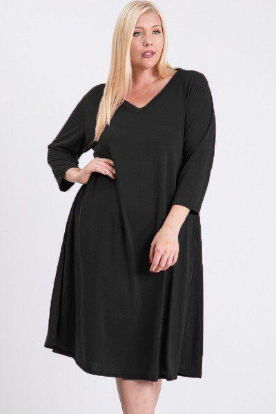 Plus Size V Neck Pocket Swing Dress - Black - B Inspired Boutique