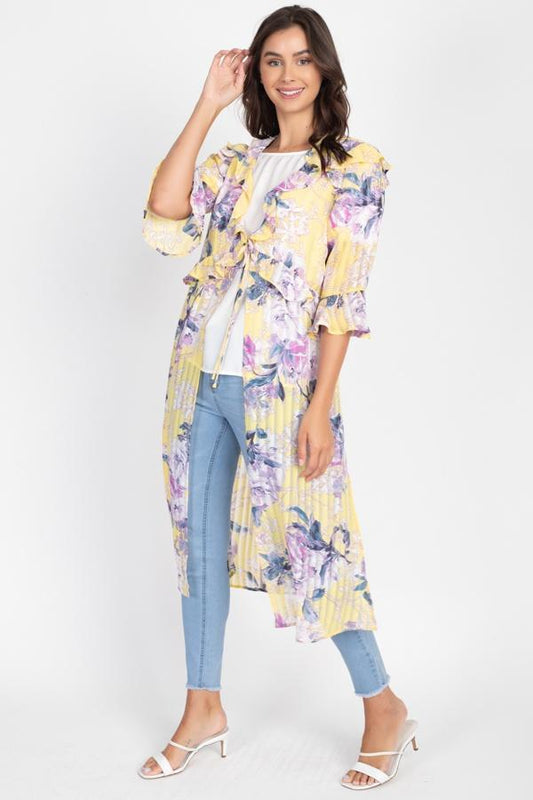 Floral Ruffle Robe Cardigan - Yellow - B Inspired Boutique