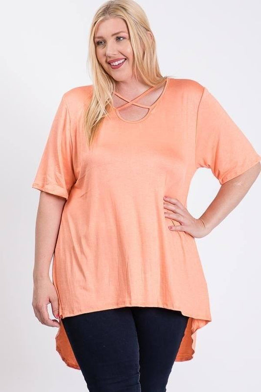 Plus Size Relaxed Fit Hi-Low Tunic Top - Coral