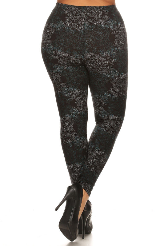 Floral Medallion Pattern Leggings - Plus Size