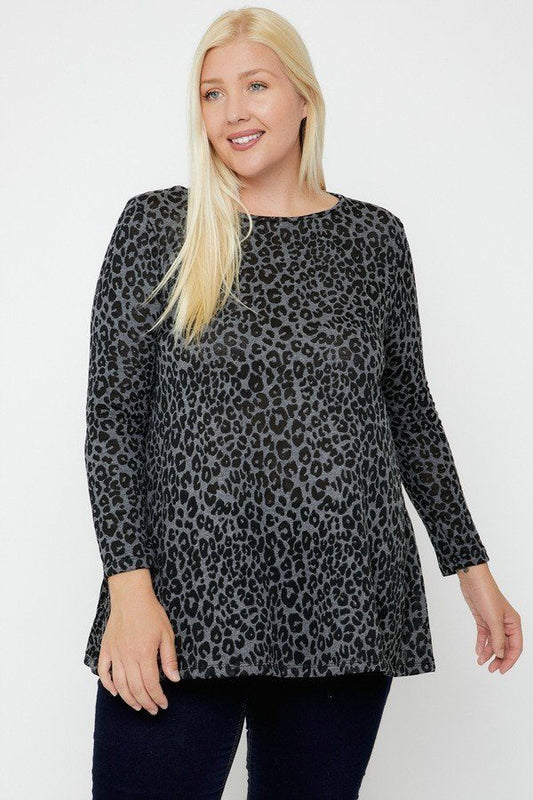 Plus Size Cheetah Print Tunic - Charcoal