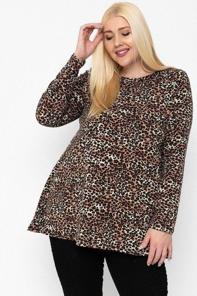 Plus Size Cheetah Print Tunic - Brown
