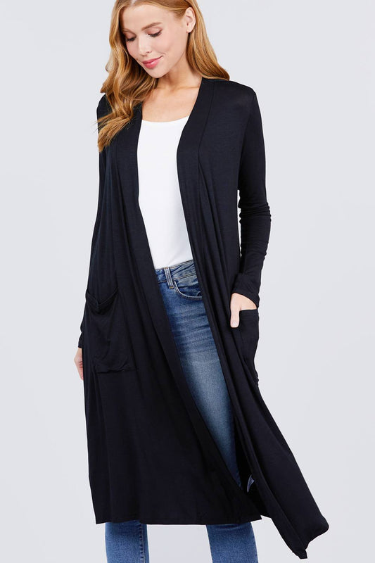 Open Front Long Cardigan - 10 Colors