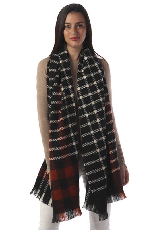 Long Plaid Oblong Scarf
