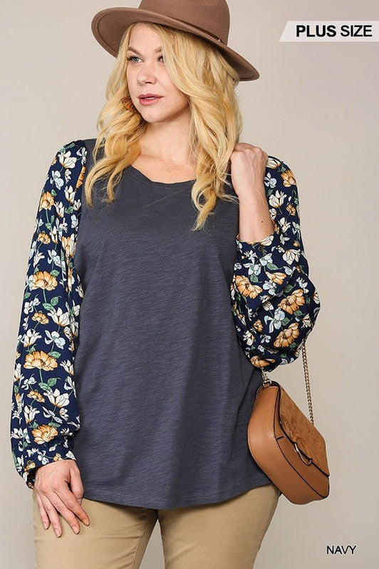 Plus Size Floral Dolman Sleeve Top - Navy