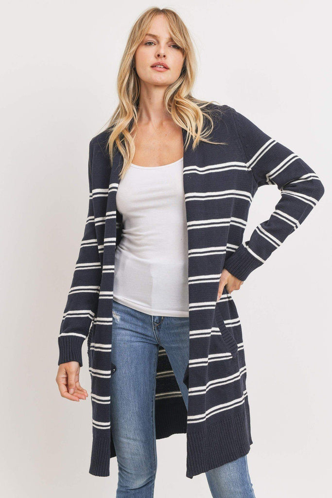 Navy Striped Open Front Cardigan Sweater