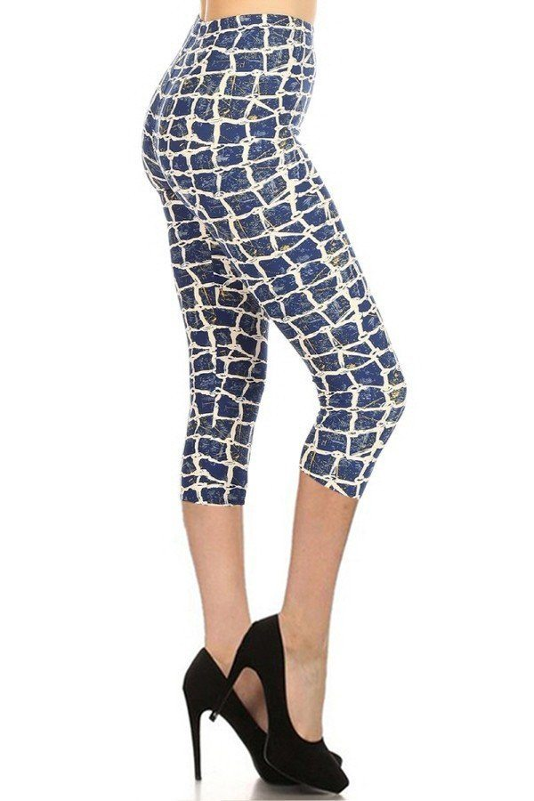 Rock Slide High Waisted Capri Leggings - One Size