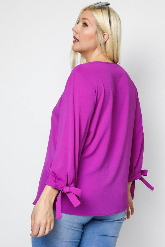 Plus Size 3/4 Sleeve Tie Accent Blouse Top - Berry
