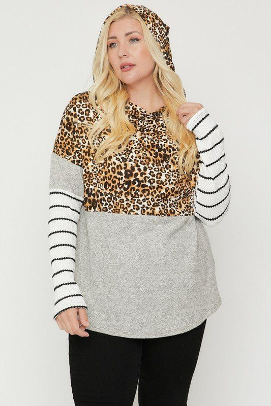 Plus Size Color Block Cheetah Print Hoodie Top - Mocha