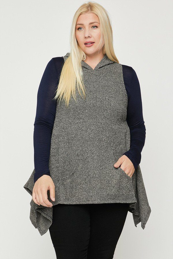 Plus Size Hooded Sleeveless Top - Mocha