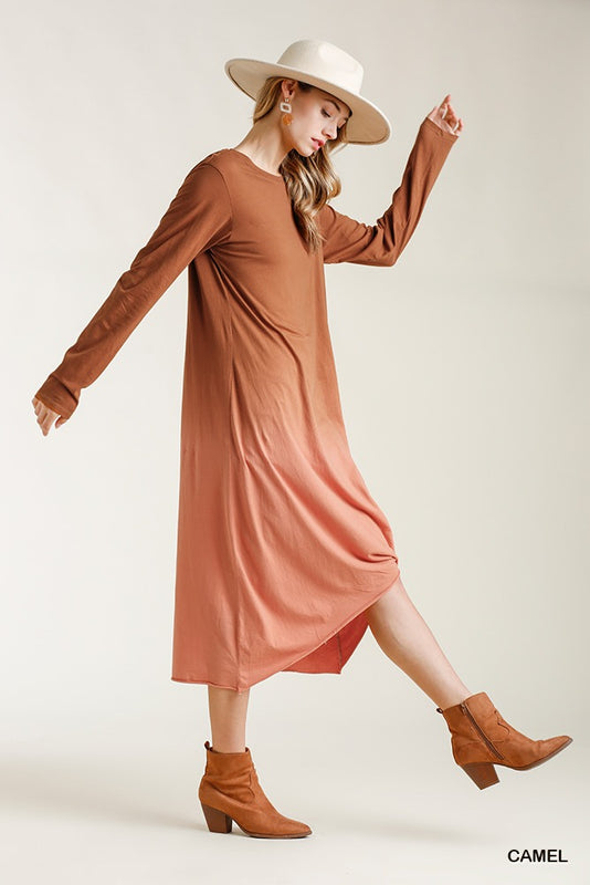 Ombre Front Knot Detail Maxi Dress With Raw Hem - Camel