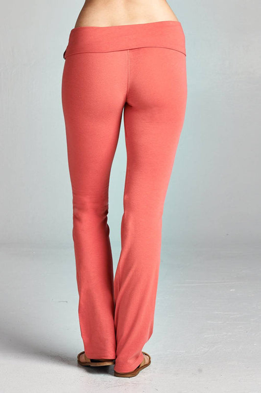 Banded Fold Over Yoga Waist Legging Pants - Dark Rose