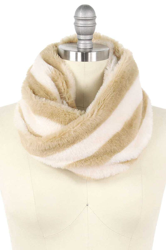 Stripe Fur Tube Infinity Scarf