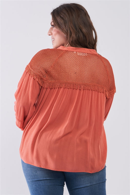 Plus Size Boho Mesh Relaxed Top - Mango