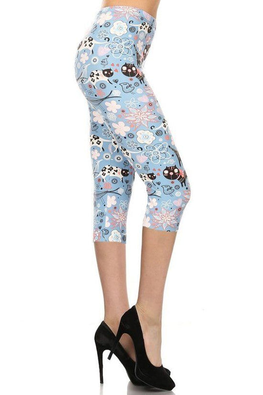 Floral Kitty High Waist Capri - One Size