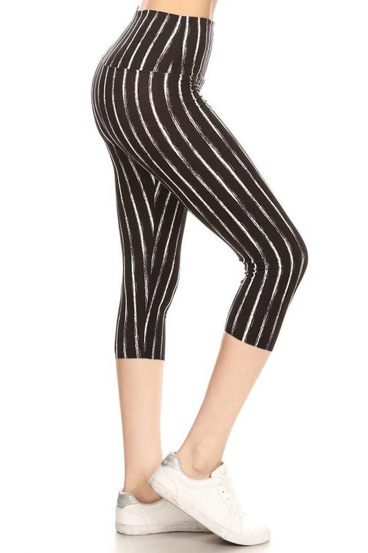 Pin Striped Yoga Waist Capri - One Size