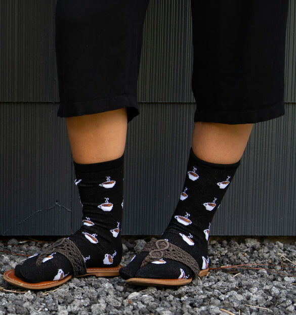 V-Toe Flip Flop Tabi Socks - Coffee Cups