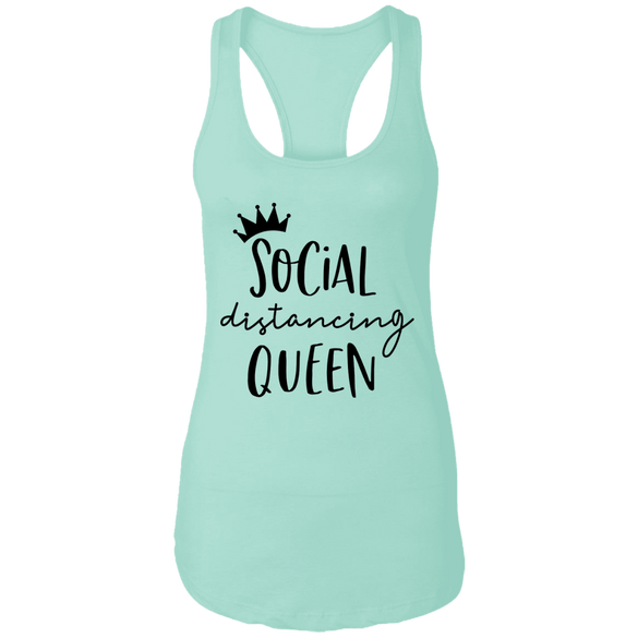 Social Distancing Queen Ladies Racerback Tank