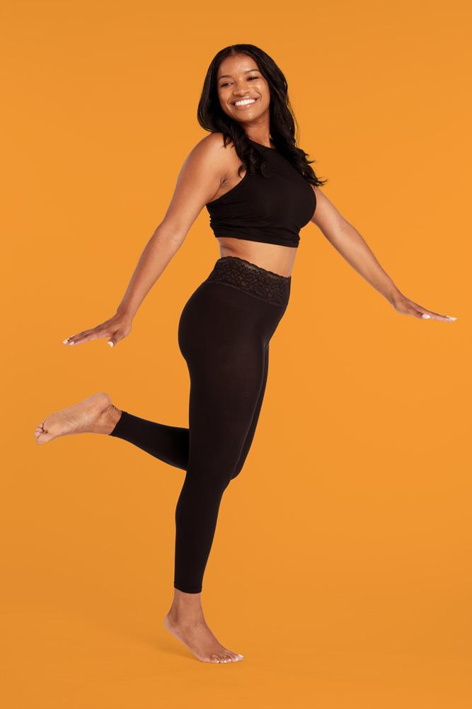 Footless Tights in Black Opaque With Comfortable Luxe Waistband