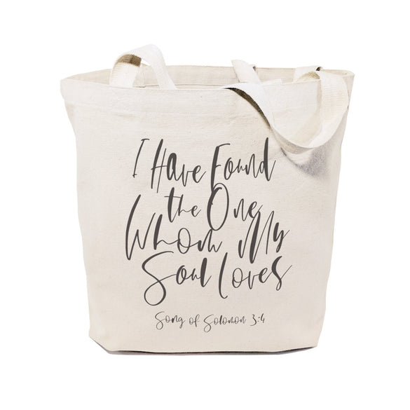 I Have Found the One Whom My Soul Loves, Song of Solomon 3:4 Cotton Canvas Tote Bag