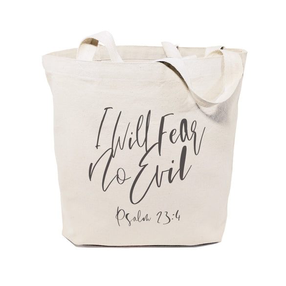 I Will Fear No Evil, Psalm 23:4 Cotton Canvas Tote Bag