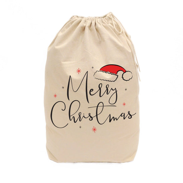Merry Christmas Cotton Canvas Santa Sack