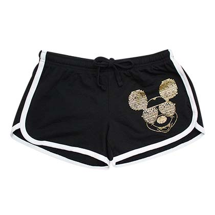 Mickey Mouse Gold Foil Women's Black Beach Shorts - B Inspired Boutique