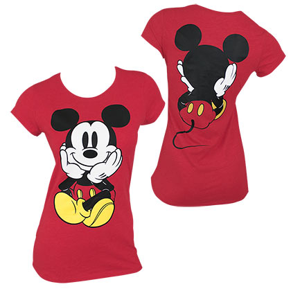 Mickey Mouse Front & Back Women's Red Tee Shirt - B Inspired Boutique