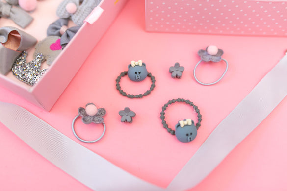 Gray Hair Accessories Gift Box - 18Pcs - Gift Set